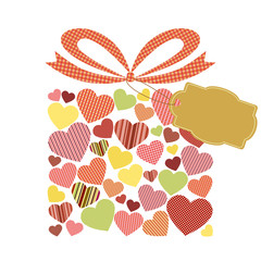 Gift Box decorated with hearts  - Gift Tag