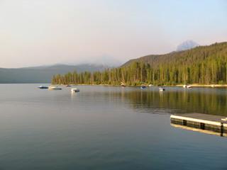 Smoke over Redfish Lake, Idaho