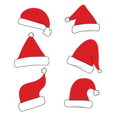 red christmas hat set isolated