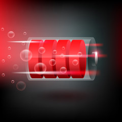 Vector battery in maximum charge levels, on black background