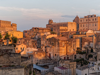 landscape of Matera in the evening