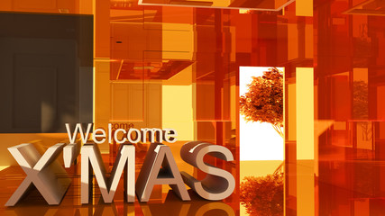 Welcom to merry Christmas 3D text