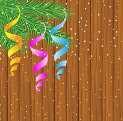 wooden texture with the branches of christmas tree