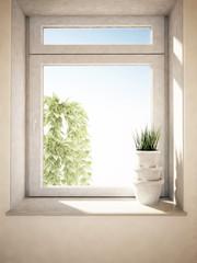 the vases on the windowsill