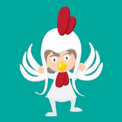 illustration of baby in a chicken fancy dress costume vector