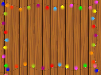 wooden texture with bright garlands