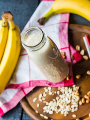 banana smoothie with oatmeal and nut paste