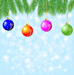 festive background with the branches of christmas tree and varic