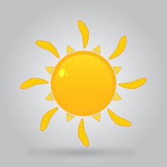 icon of bright sun orange with shadow. vector