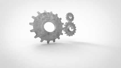 three 3D cogs on white background