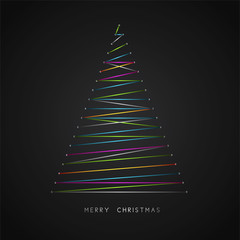 Christmas tree with yellow star. Vector illustration