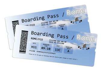 Airline boarding pass tickets to Rome isolated on white