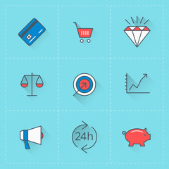 Business icons. Vector icon set in flat design style