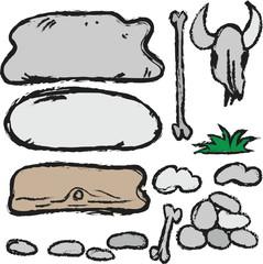 cartoon  stones set, bone, skull, board