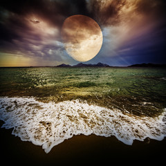 golden moon and sea