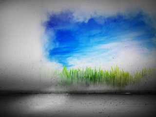 Vibrant landscape painting on a grey concrete wall. Positive