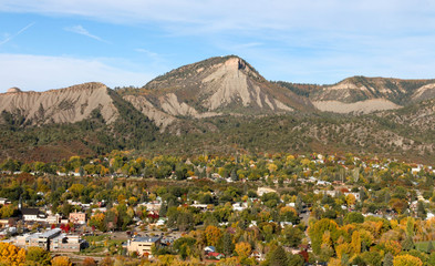 Durango, CO in the Autumn viewed from overhead