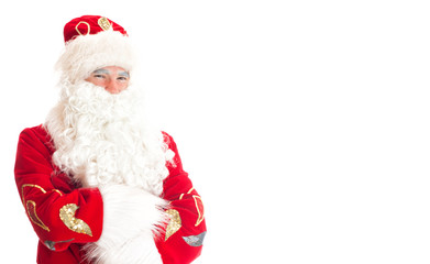 Santa Claus. Space for your text. Isolated on white.