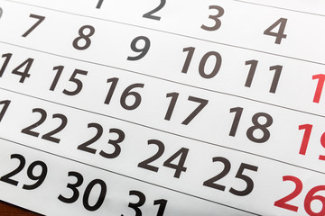 Closeup of calendar