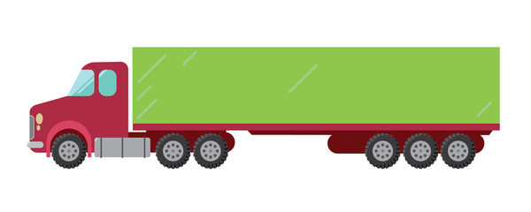 Red green truck vector illustration