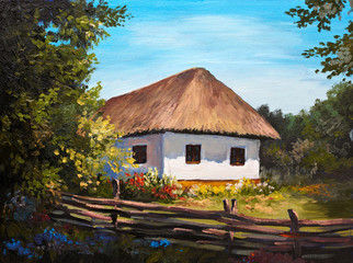 Oil Painting - Farmhouse in the forest
