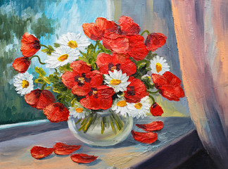 Obraz oil painting on canvas - bouquet of poppies - fototapety do salonu