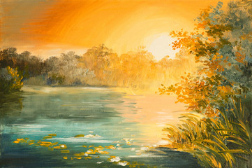 Oil Painting - sunset on the lake, colorfull art drawing