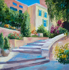 oil painting on canvas - stone stairs in the Greek city