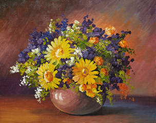 oil painting on canvas - bouquet of daisies
