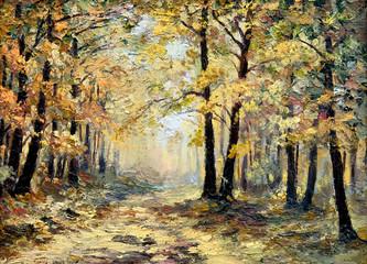 oil painting landscape - autumn forest, full of fallen leaves, c