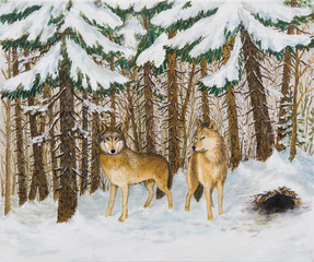 oil painting - wolves in the pine forest, Russian winter, colorf