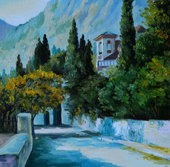 Oil Painting - cityin the mountains,the road surrounded by trees