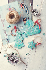 Handmade ceramic Christmas decorations with Christmas theme prin