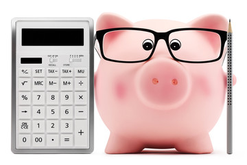 piggy bank with glasses calculator and pen