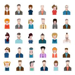 Set avatars flat style men women profession