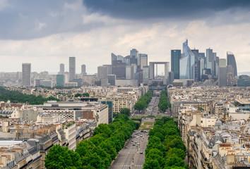Paris, France. La Defense, aerial view of business quarter