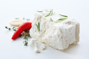 Feta cheese isolated on white