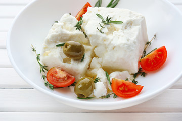 Feta cheese on table close-up