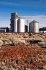 Agricultural Silo Farm Railroad Tracks Grain Elevator Food Grain