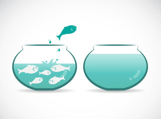Vector image of an fish jumping out of aquarium. Freedom concept