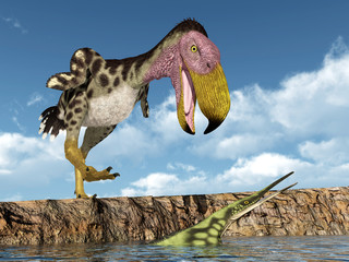 Terror Bird Kelenken attacks the Marine Reptile Hupehsuchus