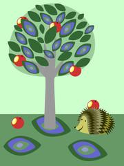 Illustration of a hedgehog in the garden
