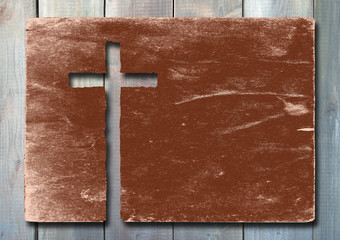Old vintage paper with cross over wood
