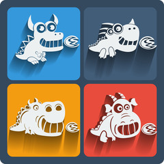 Set of dragon icons. Vector.