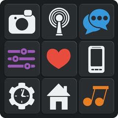 Set of 9 interface web and mobile icons. Vector.