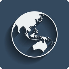 Earth planet globe web and mobile icon. Vector.