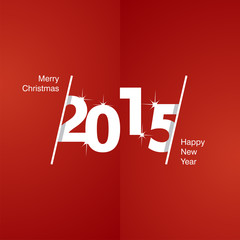 2015 Happy New Year white red background