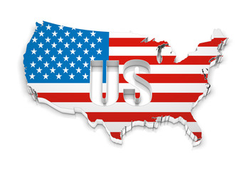USA map with shadow effect and flag on a white background. 3d rendering.