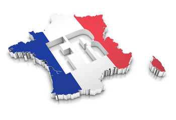 Map of the France on a white background.