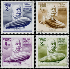 Set of stamps printed in Hungary shows Zeppelin
